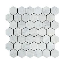 Carrara White Italian (Bianco Carrara) Marble 2 inch Hexagon Mosaic Tile
