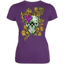 Mardi Gras Voodoo Zombie Skull Juniors Soft T Shirt
