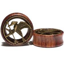 Pair Wood Flesh Ear Tunnels w/Brass insert Gauges Plugs Earrings - Hunger Games