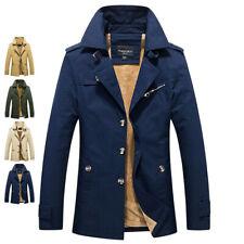 Mens Winter Warm Jacket Trench Long Wool Coats Fashion Casual Outwear Overcoat