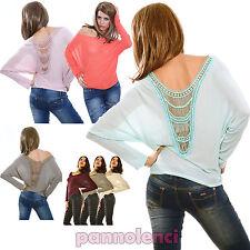 Maglione pullover donna carmen maglia pull ricamo schiena nuda CC-0913