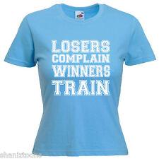 Gym Boxing Bodybuilder Slogan Ladies Lady Fit T Shirt 13 Colours Size 6 - 16