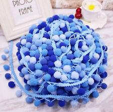 5Yards Blue Pom Pom Ball Lace Trim DIY Sewing Clothing/hat/scarf Accessories