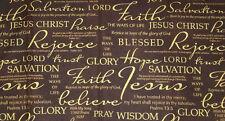 Christian Faith Brown & Gold Religious Bible Cotton Fabric Yard / Half Yard t2/3