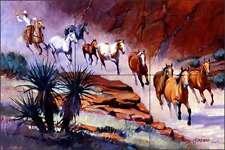 Ceramic Tile Mural Backsplash Senkarik Western Cowboy Horses Art MSA030