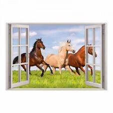 157 Wandtattoo Fenster - Pferde auf Wiese - Mädchen Kinderzimmer Deko Pony