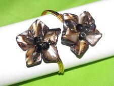 New Philippines Handmade Seashells pearl Floral goldtone cuff bracelet