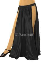 Black 2 side split Shining Satin Long Skirt Swing Skirt Belly Dance Costumes S36