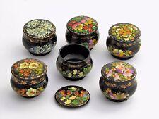 Boîte à bijoux pilules H5 D6 cm bois peint main laqué signé artisanat ukrainien