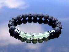 Prehnite/Lava Natural Gemstone Bracelet 6-9'' Elasticated Healing Stone Chakra