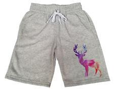 Men's Geometric Pink Deer Gray Fleece shorts sweatpants Jogger Gym Hunting B148