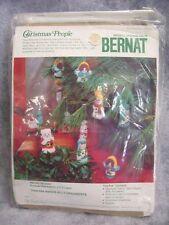 VTG 1978 Bernat Christmas 5 Ornament/Finger Puppet Kit NIP Angel,Santa,Shepard