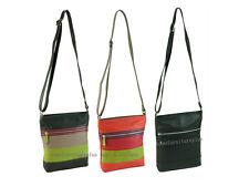 Soft Genuine Leather Women Long Strap Shoulder CrossBody Travel Bag Block Stripe