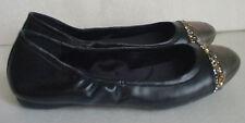 Calvin Klein Paulina Leather Ballet Flat Black Gray Metallic Womens Sz 7 7.5 10