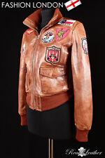 Ladies 'TOP GUN' Tan BOMBER Pilot Aviator Real Lambskin Leather Women's Jacket