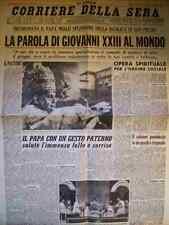 CORRIERE DELLA SERA 5 NOVEMBRE 1958 LA PAROLA DI GIOVANNI XXIII AL MONDO ( O4 )