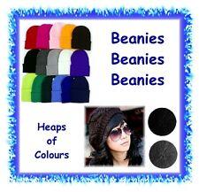 Knitted acrylic beanies - heaps of colours - mens women hat kids crochet baggy