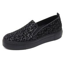 B8572 sneaker donna TRUSSARDI JEANS scarpa leopardato nero slip on shoe woman