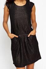 Metallic Tie Back Skater Black Dress