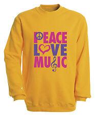 (09017-1 giallo) Felpa Ffelpa S M L XL XXL 3XL 4XL - PACE LOVE MUSICA