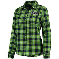 Women's Seattle Seahawks Klew Navy Wordmark Flannel Button-Up Long Sleeve Shirt