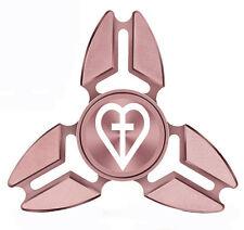 Fidget Spinner Tri-Spinner Aluminum Metal Heart Cross