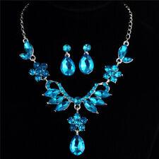 Female Crystal Pendant Bib Choker Chain Statement Necklace Earrings Jewelry Sets