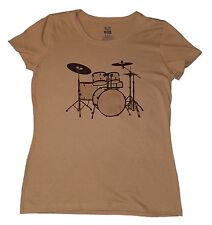 Drum Kit T-shirt Women Khaki Size S-XL music rock concert band soft cotton