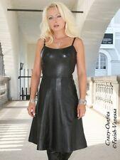 Lederkleid Leder Kleid Schwarz Minikleid Knielang Größe 32 - 58 XS - XXXL