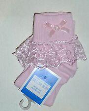Rose Filles dentelle froncée chaussettes taille beaucoup de tailles bow et perle motif