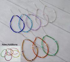 Adjustable Seed Bead Anklet Bracelet Stripe Bead Festive Boho Summer Hippy Love