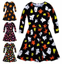 Girls Long Sleeved Skater Dress New Kids Halloween Costume Dresses 5-13 Years