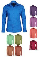 Pure Herren-Hemd Business Uni Kent Kragen Slim Fit Langarm Freizeit bügelleicht