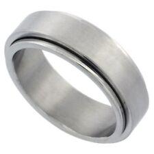 7mm Stainless Steel Spinner Wedding Band Ring, Matte Finish