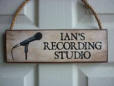 PERSONALISED MUSIC ROOM SIGN RECORDING STUDIO SIGN MICROPHONE MUSIC STUDIO SIGN