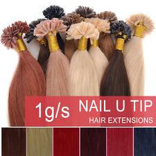"22""1g Double Drawn Nail U Tip Pre-Bonded Keratin Glue Remy Human Hair Extensions"