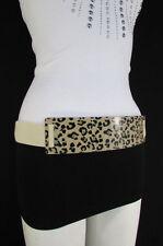 Women Black Beige Elastic Fashion Belt Gold Leopard Animal Print Metal Plate S M