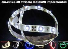 Strisce led 3528smd impermeabili di cm.20-25-40 in vari colori input DC 12volt