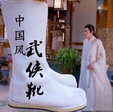 Chinese Mens Swordsman Boots Hanfu Cosplay Mid-Calf Boots Flats Shoes Size 37-48