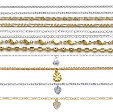 pulsera tobillera en PLATA o chapado en oro de nueve 51 Modelos a elegir