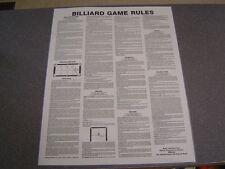 2 Billiards BCA Rules & Reg Non-Laminated Posters. 7 Pool Games.  GREAT BUY !