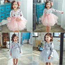 Nuevo Vestido con estampado floral del Niño Bebé Niña Tul Tutú De Fiesta de Cumpleaños Niños hinchados Reino Unido
