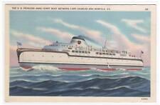 Ferry Ship SS Princess Cape Charles Norfolk Virginia postcard