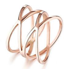 Ring Damen Rose Gold Rotgold Edelstahl Schmuck Breit Finger Ring Bandring