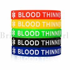 "5pcs Medical Alert ID Bracelet Silicone Rubber Wristband  Men Women Jewelry 7.5"""