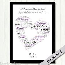 Grandmother Personalised Gift. Home Keepsake for Grandma .Word Cloud Heart Gift