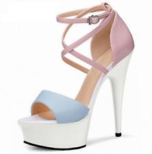Womens High Stiletto Heel Shoes Cross Buckle Strap Platform Open Toe Sandals New