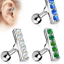 "1pc Five Opal Set 2mm x 10mm Bar Tragus Cartilage Ring Barbell 16g 1/4"""