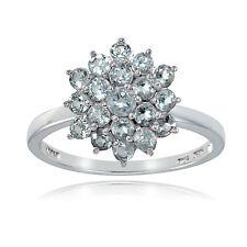 Sterling Silver Genuine Aquarmarine Flower Ring