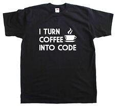 I Tournez café en code programmeur nouveau hommes T Shirt Coton Taille